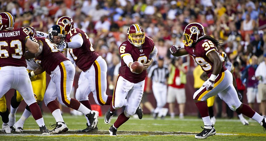 Two players vital to the Washington Redskins' success against the New York Giants on Sunday will be quarterback Rex Grossman and running back Tim Hightower. (Rod Lamkey Jr./The Washington Times)