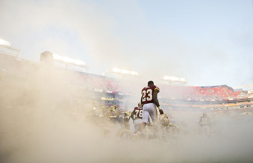 Washington Redskins cornerback DeAngelo Hall (23) takes to the field to play the Pittsburg Steelers at FedEx Field in Landover, Md, Friday, August 12, 2011. (Rod Lamkey Jr./The Washington Times)