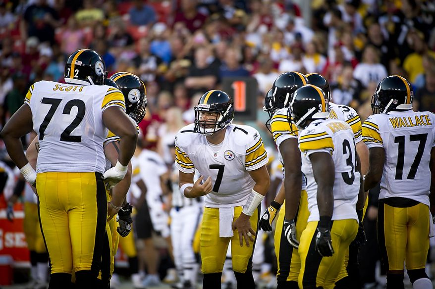 Pittsburg Steelers quarterback Ben Roethlisberger (7) calls the play in the huddle in the first quarter at FedEx Field in Landover, Md, Friday, August 12, 2011. (Rod Lamkey Jr./The Washington Times)