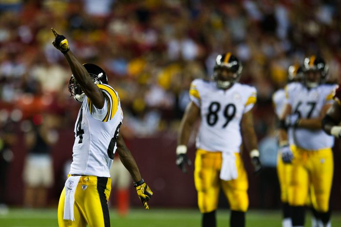 Steelers wide receiver Antonio Brown (84) showboats after a first down, in the first half during a preseason game between the Washington Redskins and the Pittsburgh Steelers, at FedEx Field in Landover, Md., Friday, Aug. 12, 2011. (Drew Angerer/The Washington Times)