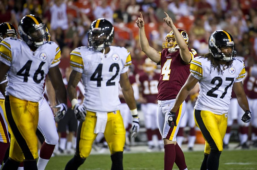 Graham Gano (4) of the Washington Redskins celebrates his field goal against the Pittsburg Steelers in the fourth quarter at FedEx Field in Landover, Md, Friday, August 12, 2011. (Rod Lamkey Jr./The Washington Times)