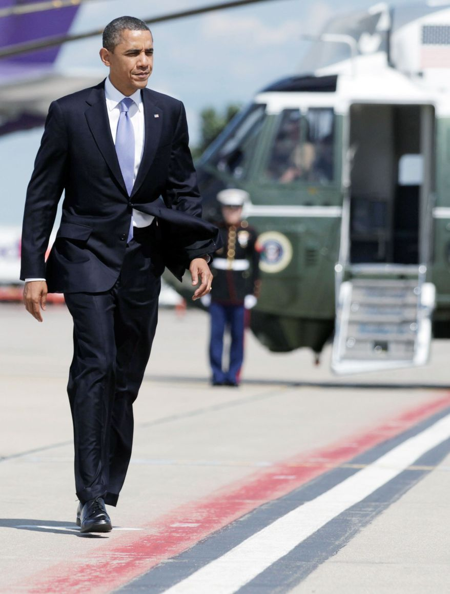 """President Obama will hold a town-hall meeting in Minnesota on Monday and then travel by bus to Iowa before concluding his Midwest trip in Illinois. The White House is billing the trip as an """"economic bus tour,"""" but Republicans are blasting it as a taxpayer-funded campaign swing. (Associated Press)"""