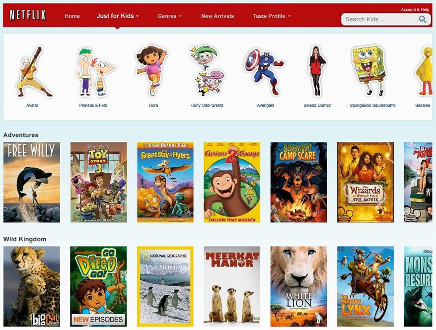 """NETFLIX VIA ASSOCIATED PRESS A screen shot shows the home page for the """"Just For Kids"""" tab on the Netflix website."""