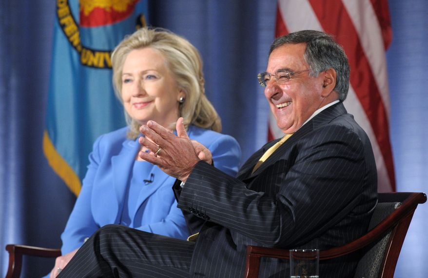 """ASSOCIATED PRESS Secretary of State Hillary Rodham Clinton and Defense Secretary Leon E. Panetta share a laugh during an event at the National Defense University in Washington on Tuesday. """"There is a debate going on inside Pakistan about the best way to deal with what is an increasing internal threat,"""" Mrs. Clinton said."""
