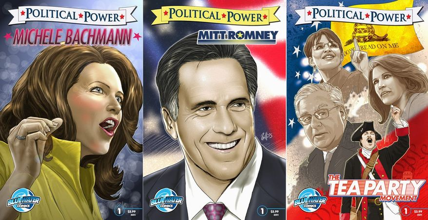 A pair of Republican presidential hopefuls, Rep. Michele Bachmann and Mitt Romney, and the tea party movement get the cartoon treatment from Bluewater Comics. (Bluewater Comics)