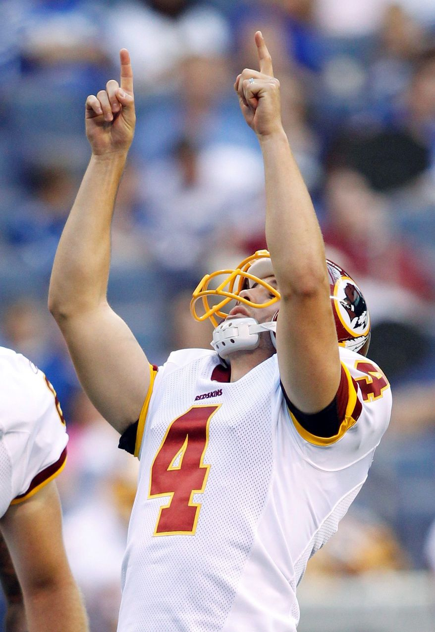 ASSOCIATED PRESS Redskins kicker Graham Gano is 6 for 6 on field goal attempts this preseason, including three in Friday night's win at Indianapolis.