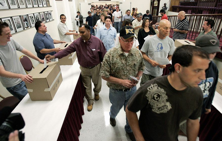 Grocery workers from Ralphs, Vons and Albertsons began voting on Friday in San Diego to reject a health care package proposed by the chains. Thousands of Southern California grocery workers voted overwhelmingly to reject a health care proposal from major supermarket chains and authorize their union leaders to call a strike, a spokesman said Sunday. (Associated Press)