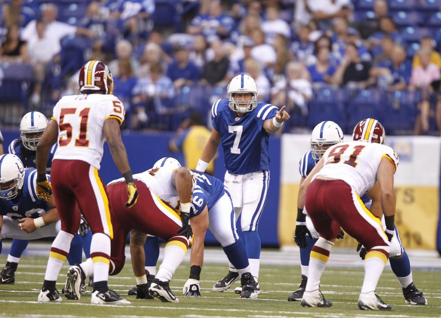 Indianapolis Colts quarterback Curtis Painter during the first quarter against the Washington Redskins on Friday night. (AP Photo/Michael Conroy)