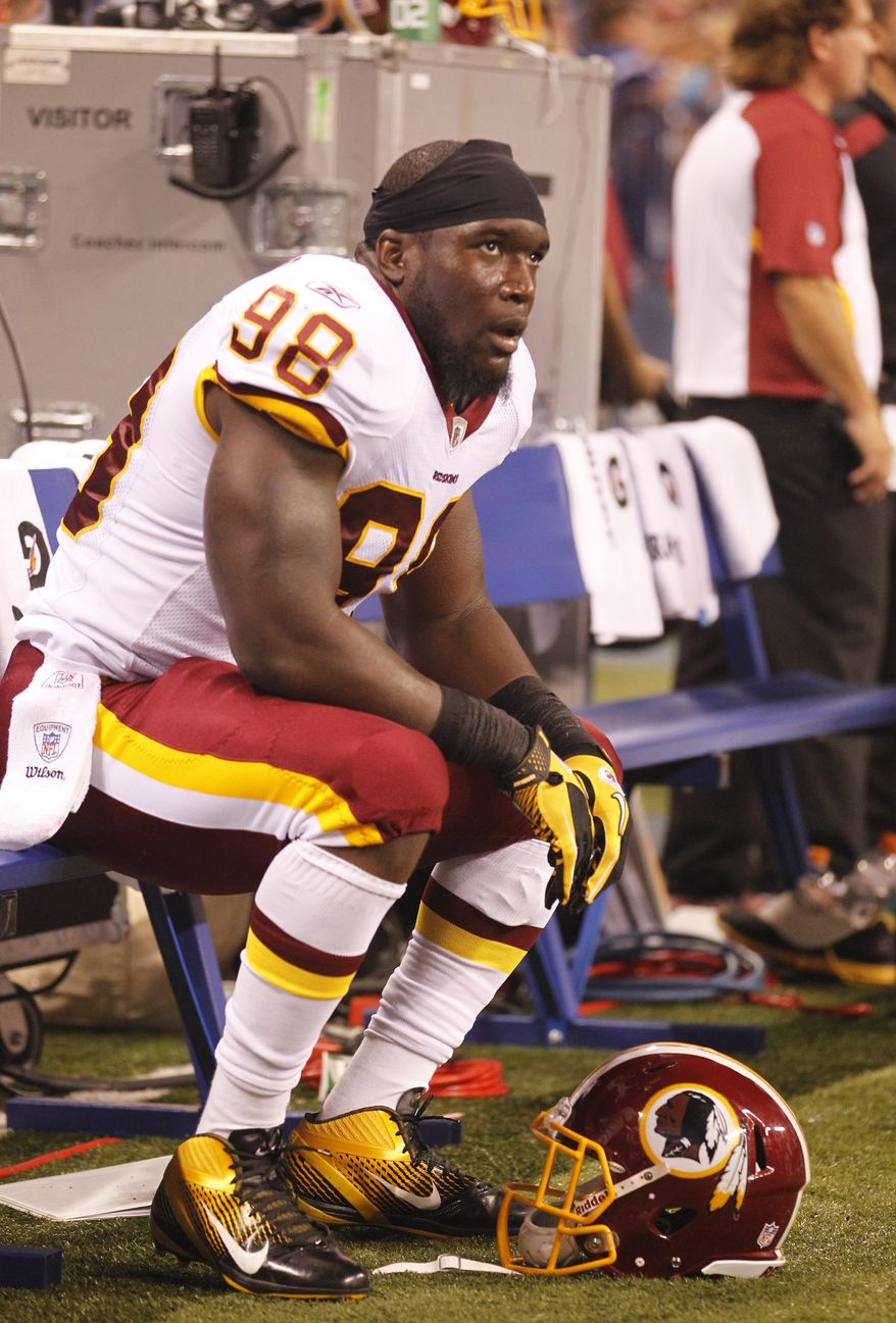 Washington Redskins linebacker Brian Orakpo had three tackles, one for a loss, in Friday's preseason win over the Indianapolis Colts. (AP Photo/Michael Conroy)