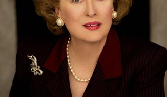 "Meryl Streep as Margaret Thatcher in ""The Iron Lady,"" the 2011 biopic about the late British prime minister. (Pathe Productions Ltd.)"