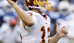 On Sunday against the Carolina Panthers, Washington Redskins quarterback John Beck will be the franchise's 21st starting quarterback since they won the Super Bowl in 1991. (Associated Press Photographs)