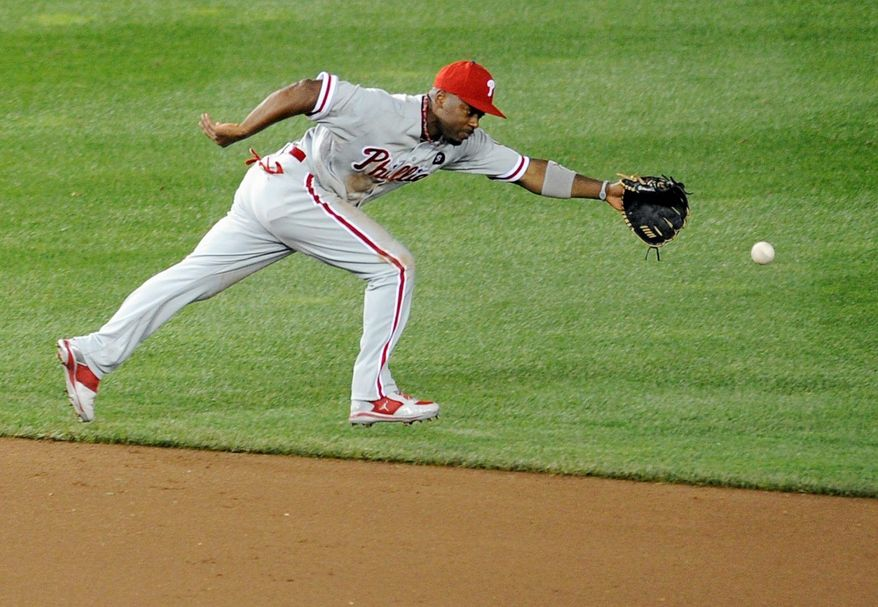 ASSOCIATED PRESS Philadelphia shortstop Jimmy Rollins is batting .268 with 14 home runs and 58 RBI. He was the National League MVP in 2007.