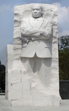 The Rev. Martin Luther King Jr. Memorial is seen on the National Mall in Washington on Aug., 21, 2011. (Associated Press)