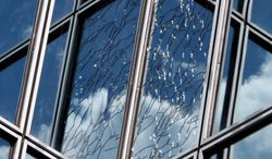 A window on Market Street in downtown Philadelphia was cracked during Tuesday's 5.8-magnitude earthquake that shook the East Coast from Georgia to New England. The earthquake was centered near Mineral, Va. (Associated Press)