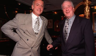 "** FILE ** Songwriters Mike Stoller (left) and Jerry Leiber pose at the Russian Tea Room in New York in 1992. Mr. Leiber, who wrote the lyrics to such hits as ""Hound Dog"" and ""Jailhouse Rock,"" died on Monday, Aug. 22, 2011, at 78. (AP Photo/Chrystyna Czajkowski, File)"