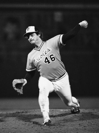 Left-hander Mike Flanagan won 167 games over 18 seasons with Baltimore and Toronto, earning the Cy Young Award with the Orioles in 1979 after going 23-9 with a 3.08 ERA. Here, he pitches to a Pittsburgh du