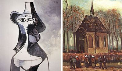 "Picasso's ""Portrait of Jacqueline"" and Van Gogh's ""Congregation Leaving the Reformed Church in Nuenen"" are two examples of stolen art masterpieces."