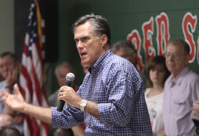 ** FILE ** Former Massachusetts Gov. Mitt Romney, who is running for the 2012 Republican presidential nomination, speaks during a town-hall meeting at the Keene Recreation Center in Keene, N.H., on Wednesday, Aug. 24, 2011. He also spoke in San Antonio, Texas, on Tuesday, Aug. 30, 2011.  (AP Photo/Jim Cole)