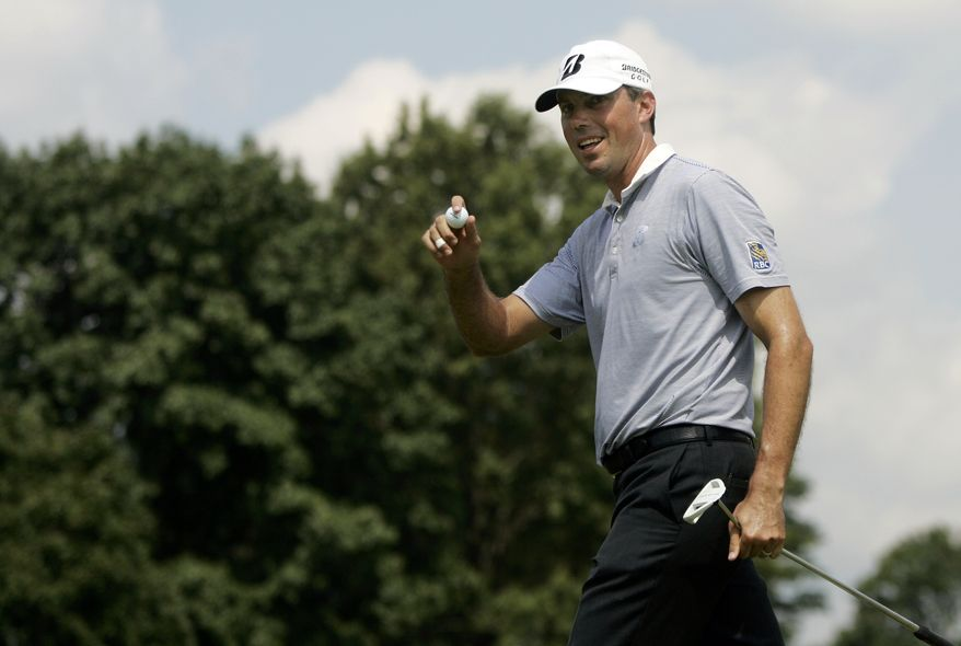 Matt Kuchar reacts after sinking a long putt on the second hole during the second round of The Barclays golf tournament, Friday, Aug. 26, 2011, in Edison, N.J. (AP Photo/Rich Schultz)