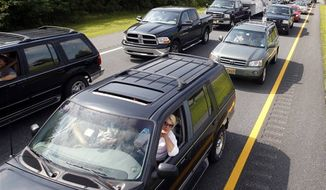 Vehicles sit in a traffic jam on the northbound Garden State Parkway. (AP Photo/Mel Evans)