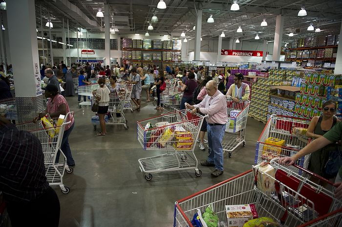 As Hurricane Irene makes its way up the Atlantic coast, crowds wait in line to pay at discount warehouse club Costco in Arlington, Va., on Aug. 26, 2011. (Rod Lamkey Jr./The Washington Times)