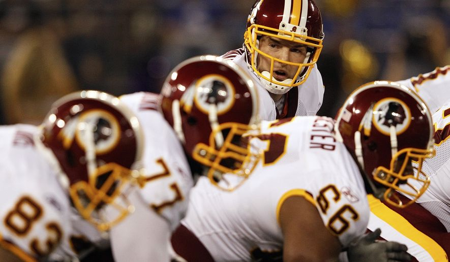 Washington Redskins quarterback Rex Grossman looks down the line during the first half against the Baltimore Ravens on Thursday night. Grossman had 112 yards passing and one touchdown in the Redskins' 34-31 loss. (AP Photo/Patrick Semansky)