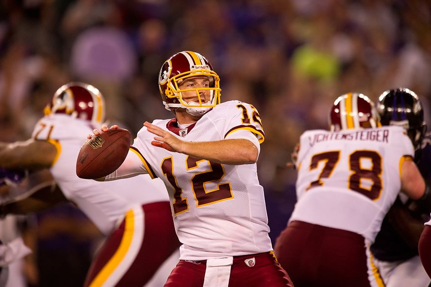 Quarterback John Beck of the Washington Redskins passes in the first quarter of preseason football at M&T Bank Stadium in Baltimore, MD, Thursday, August 25, 2011. (Andrew Harnik / The Washington Times)