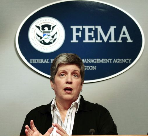 Homeland Security Secretary Janet Napolitano speaks about the impact of Hurricane Irene at FEMA Headquarters in Washington, Sunday, Aug., 28, 2011. Napolitano said President Obama instructed administration officials to continue to be aggressive in their efforts to deal with the storm and its aftermath. (AP Photo/Pablo Martinez Monsivais)