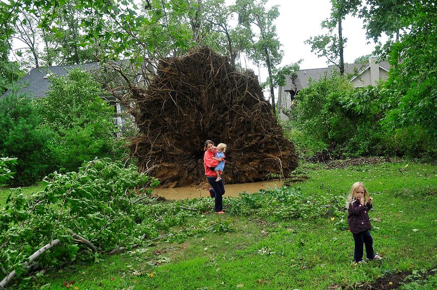 Andrea Cook carries her daughter Brynn, 1, towards her daughter Cora, 3, next to the root ball of an uprooted tree on Canal Lane in White Hall Manor, in Anne Arundel County, Md., Sunday, August 28, 2011. Winds and rain from Hurricane Irene uprooted trees which crashed into houses in the neighborhood on Saturday night, August 27, 2011. (J.M. Eddins, Jr./The Washington Times)