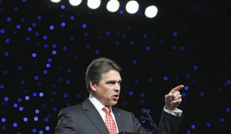 Republican presidential candidate Texas Gov. Rick Perry heard loud applause at the Veterans of Foreign Wars 112th National Conference on Monday when he said only U.S. officers should be leading American troops in missions abroad. (Associated Press)
