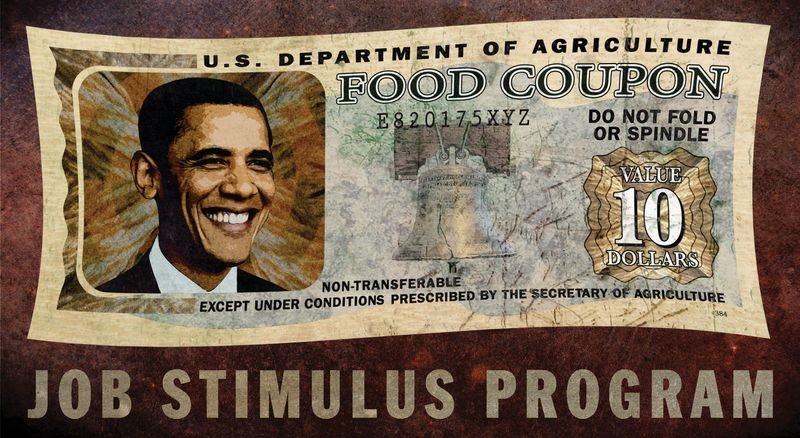 Illustration: Food stamp stimulus by Greg Groesch for The Washington Times