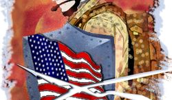 Illustration: Defense threatened by John Camejo for The Washington Times