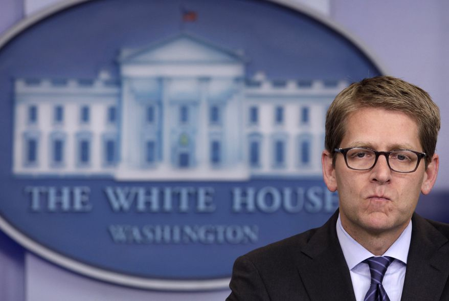 White House press secretary Jay Carney pauses during his daily news briefing at the White House in Washington on Wednesday, Aug. 31, 2011. (AP Photo/Carolyn Kaster)