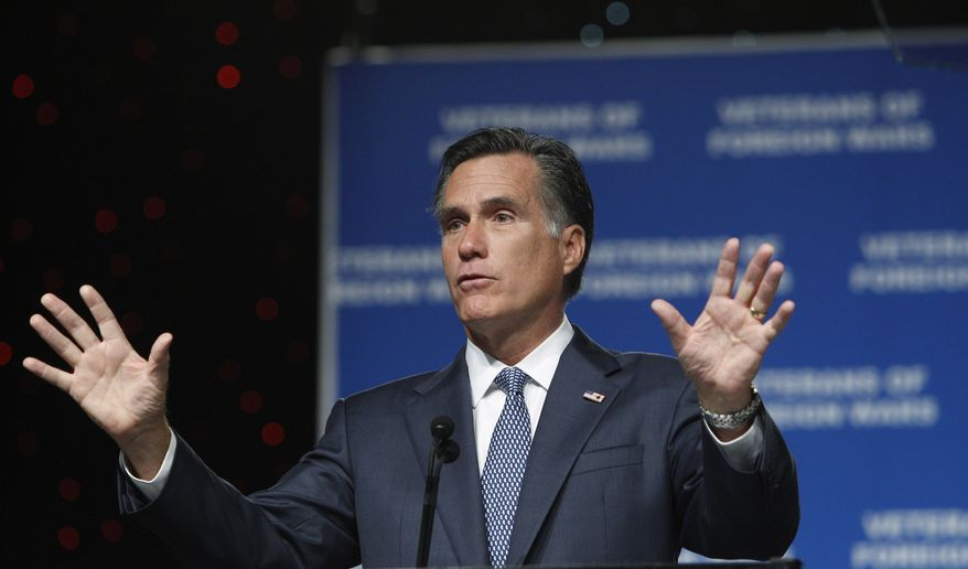 Former Massachusetts Gov. Mitt Romney, who is running for the 2012 Republican presidential nomination, addresses the national convention of the Veterans of Foreign Wars on Tuesday, Aug. 30, 2011, in San Antonio. (AP Photo/Eric Gay)