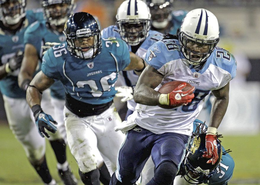 associated press Titans running back Chris Johnson, the 24th pick in 2008, is one of only six players in NFL history to rush for 2,000 yards in a season. He ran for 2,006 in 2009.
