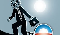 Illustration: Obama jobs by John Camejo for The Washington Times