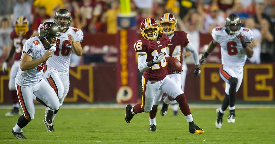 Washington Redskins wide receiver Brandon Banks (16) returns a kick off 95 yards for a touchdown against the Tampa Bay Buccaneers in the second quarter at FedEx Field in Landover, Md., Thursday, September 1, 2011, in the last pre-season game. (Rod Lamkey Jr./The Washington Times)