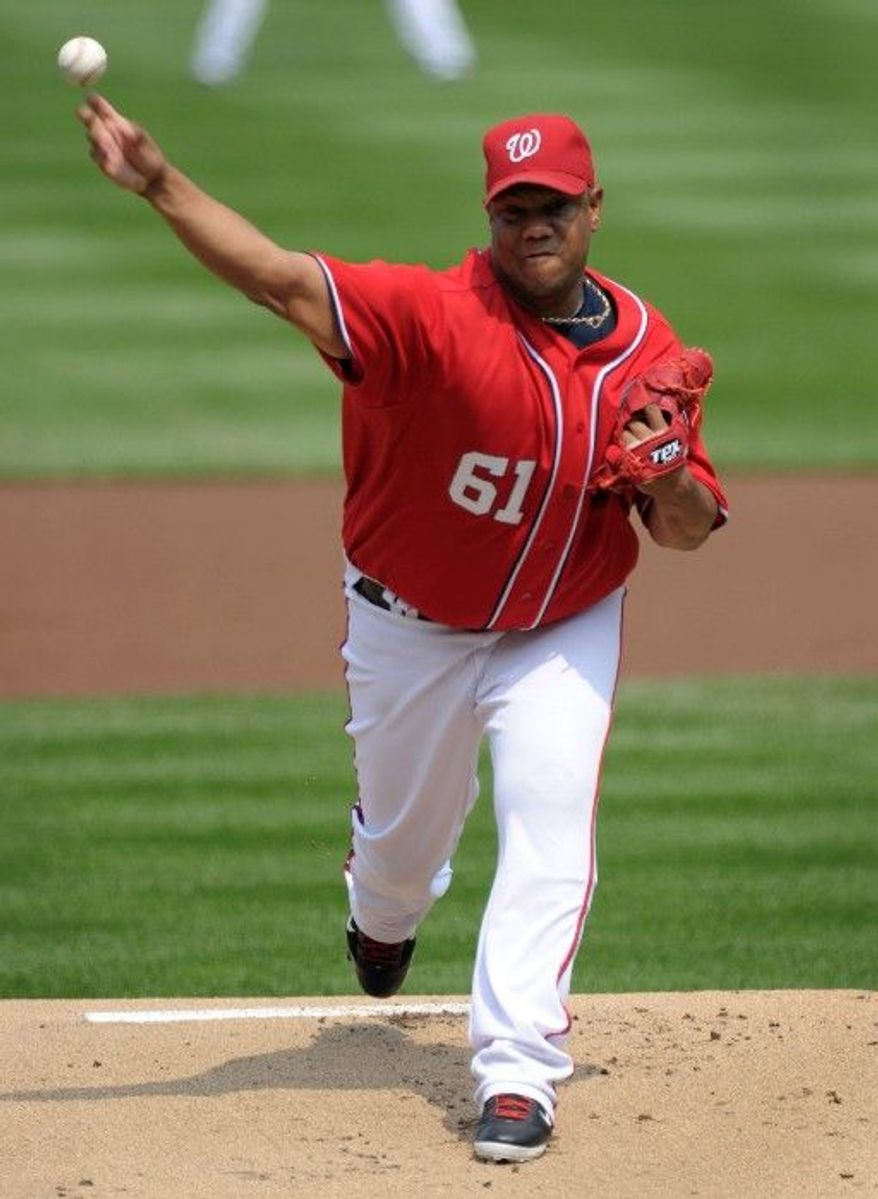 ASSOCIATED PRESS Livan Hernandez fell to 8-13 after allowing six earned runs in 5  1/3 innings in the Nationals' 6-3 loss to the New York Mets on Sunday.