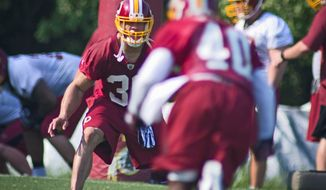 **FILE** Safety LaRon Landry had been sidelined since injuring his hamstring Aug. 19 before a Redskins preseason game. (Rod Lamkey Jr./The Washington Times)