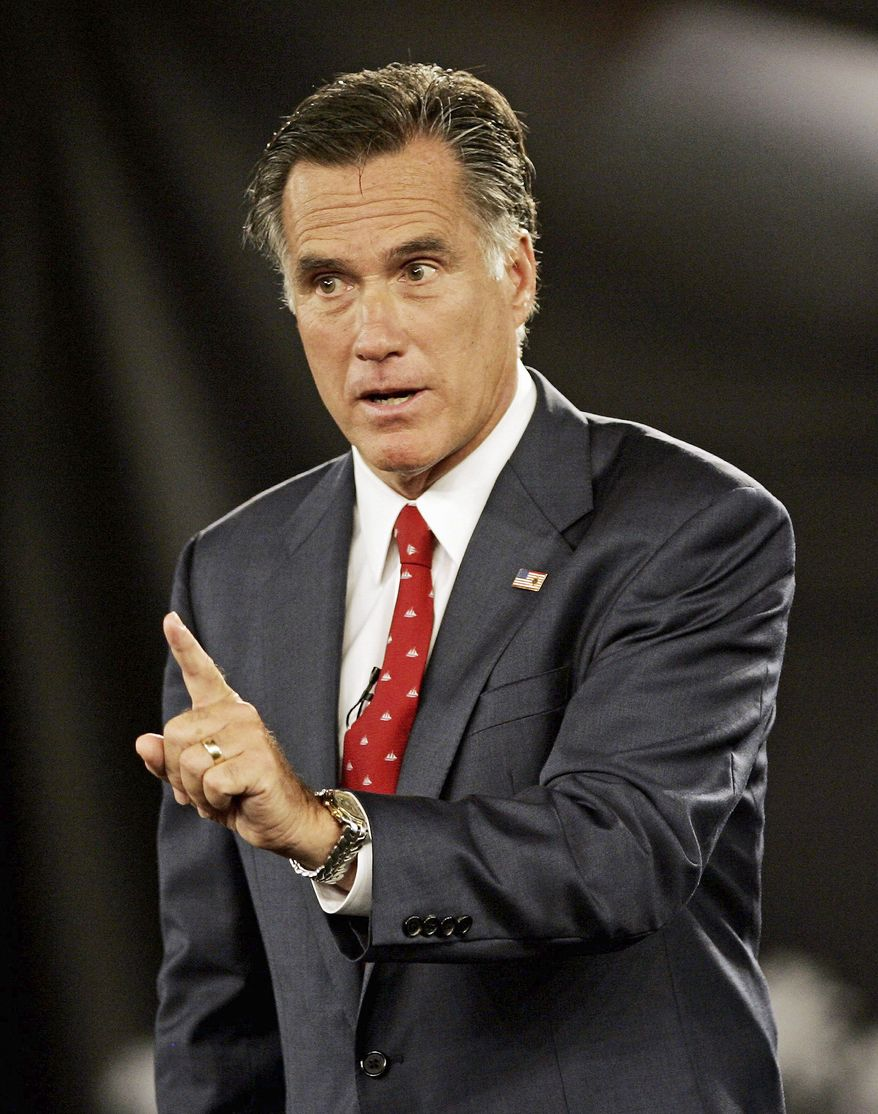 NO 'CRISIS': Former Massachusetts Gov. Mitt Romney said during a forum with other presidential candidates that he would be reluctant to use the 14th Amendment in an effort to reverse Roe v. Wade. (Associated Press)