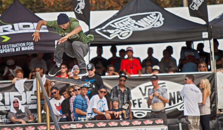 "Top-seeded Andrew ""the Boss"" Reynolds of Hollywood, Calif., is on his way to victory during the final rounds of the Maloof Money Cup skateboarding competition at RFK Stadium in Washington on Sunday, Sept. 4, 2011. He won $160,000 for placing first. (Pratik Shah/The Washington Times)"