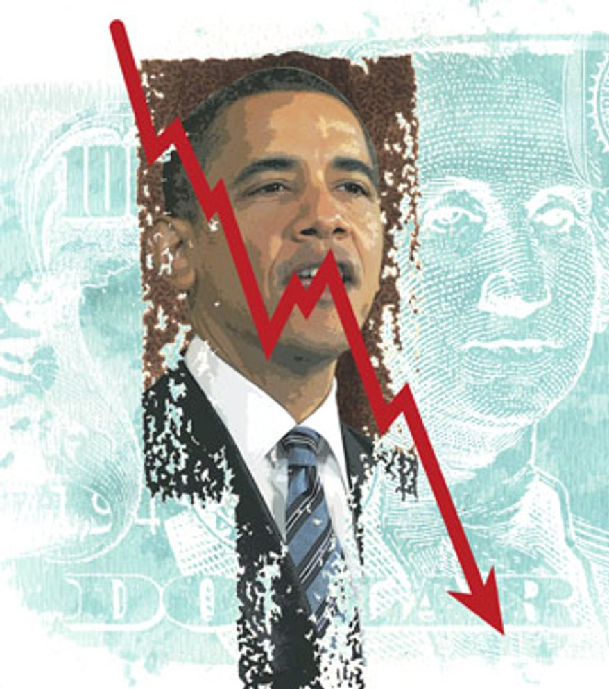 Illustration: Down economy by Greg Groesch for The Washington Times