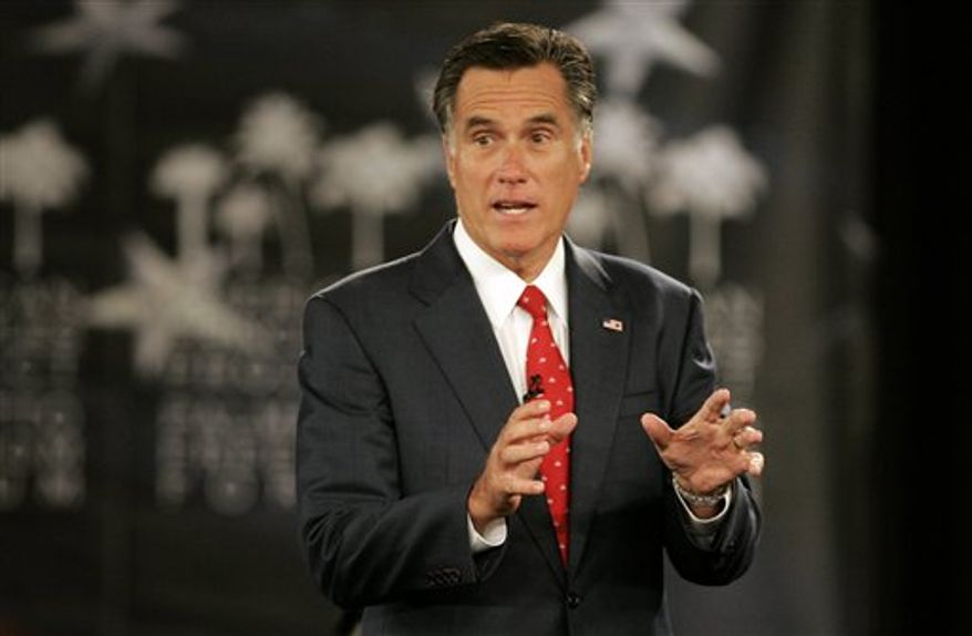Republican presidential candidate former Massachusetts Gov. Mitt Romney speaks during the American Principles Project Palmetto Freedom Forum Monday, Sept. 5, 2011, in Columbia, S.C. (AP Photo/ Mary Ann Chastain)