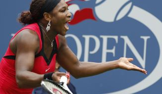 Serena Williams reacts during her match against Ana Ivanovic of Serbia during the U.S. Open tennis tournament in New York, Monday, Sept. 5, 2011. (AP Photo/Mel Evans)