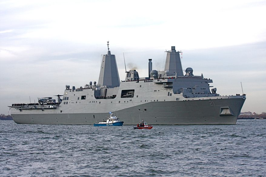 Families of 9/11 victims and first responders will journey from Norfolk, Va.  to the New York Harbor for the 10th anniversary of the terrorist attacks aboard the USS New York, which is bolstered by seven tons of recovered World Trade Center steel in her bow. (Image from US Navy)