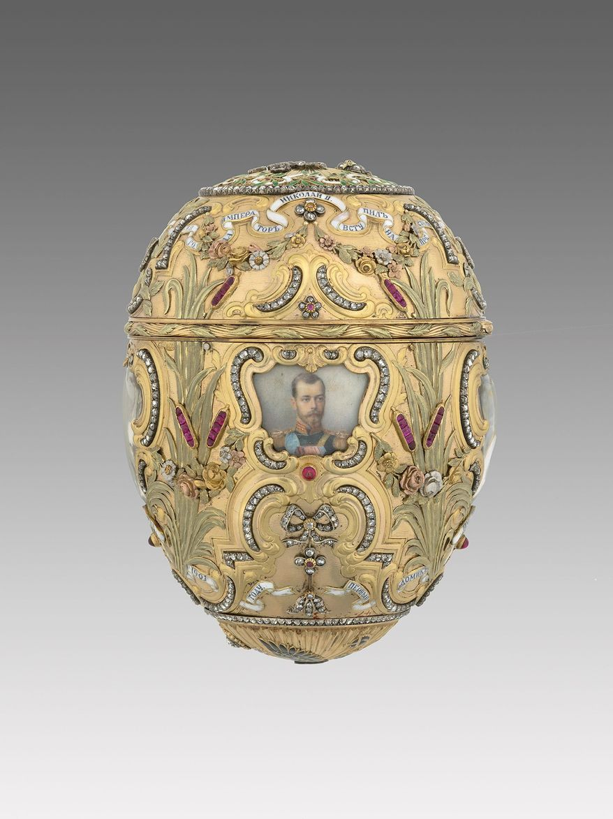 "The Peter the Great egg was made for the Russian royal family by French Jeweler Karl Faberge. It is part of the Virginia Museum of Fine Arts' special exhibition ""Faberge Revealed"" through Oct. 2. (Virginia Museum of Fine Arts)"