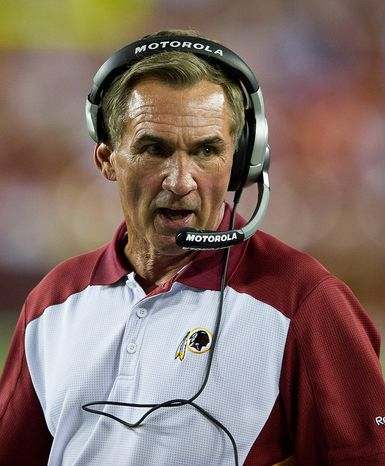 Mike Shanahan is entering Year 2 and coming off a 6-10 record he has to improve upon. (Rod Lamkey Jr./The Washington Times)
