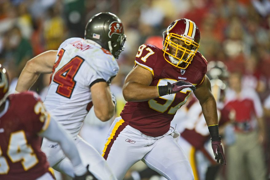 Lorenzo Alexander's blend of size, speed and technique make him a matchup nightmare on kickoff coverage for the Redskins. (Rod Lamkey Jr./The Washington Times)