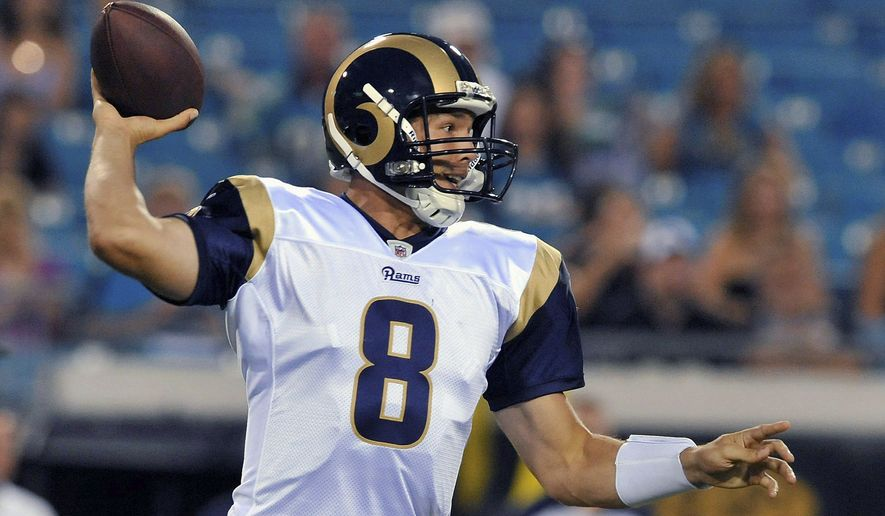St. Louis Rams quarterback Sam Bradford throws a pass during the first half of an NFL preseason football game against the Jacksonville Jaguars in Jacksonville, Fla., Thursday, Sept. 1, 2011. The Rams won 24-17. (AP Photo/Stephen Morton)