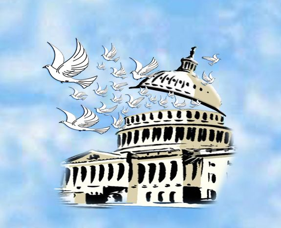 Illustration: Capitol peace by John Camejo for The Washington Times